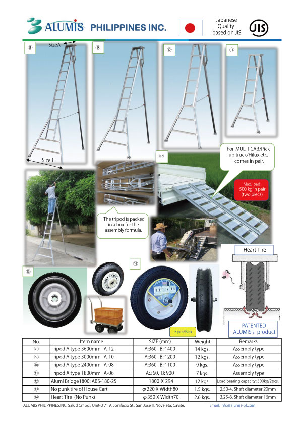 Alumi Tripod,Bridge,Cart and Heart Tire products